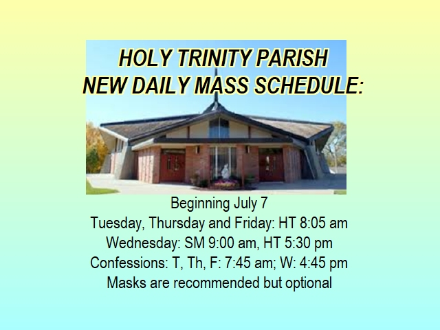 Holy Trinity Daily Mass Schedule